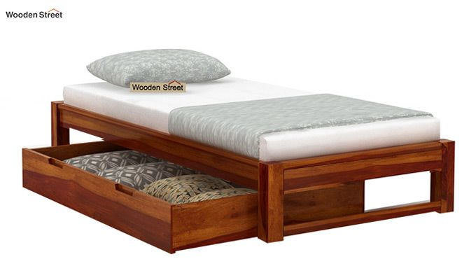 Hout Single Bed With Storage (Honey Finish)-5