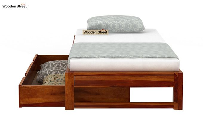 Hout Single Bed With Storage (Honey Finish)-6