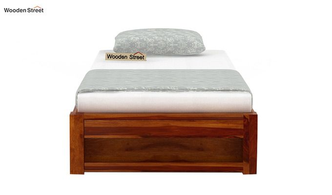 Hout Single Bed With Storage (Honey Finish)-4