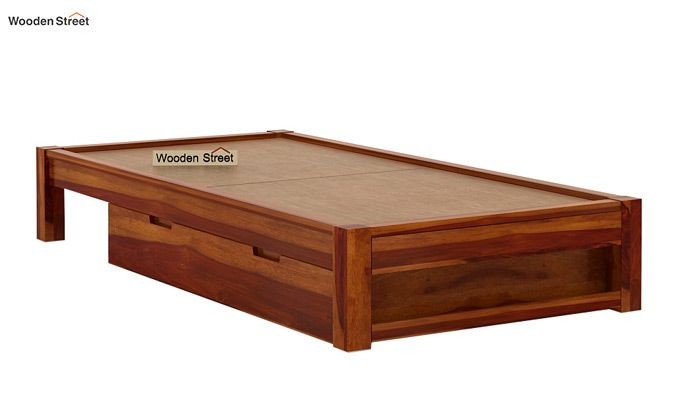 Hout Single Bed With Storage (Honey Finish)-7