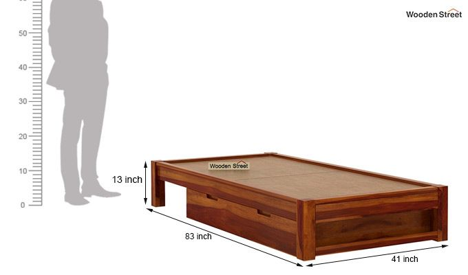 Hout Single Bed With Storage (Honey Finish)-8