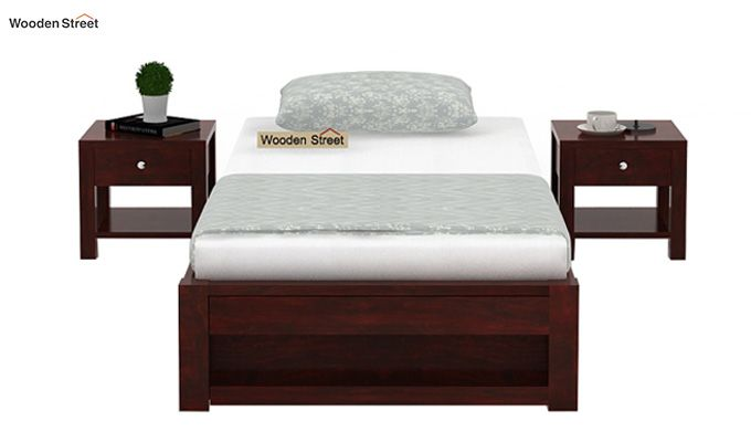 Hout Single Bed With Storage (Mahogany Finish)-2