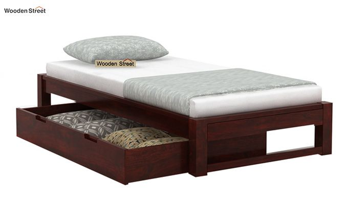 Hout Single Bed With Storage (Mahogany Finish)-5