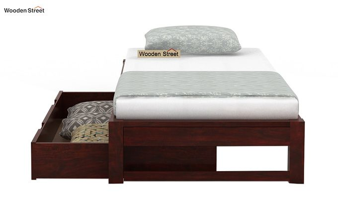 Hout Single Bed With Storage (Mahogany Finish)-6