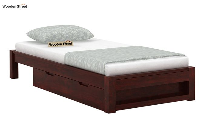 Hout Single Bed With Storage (Mahogany Finish)-3