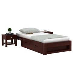 Hout Single Bed With Storage (Mahogany Finish)