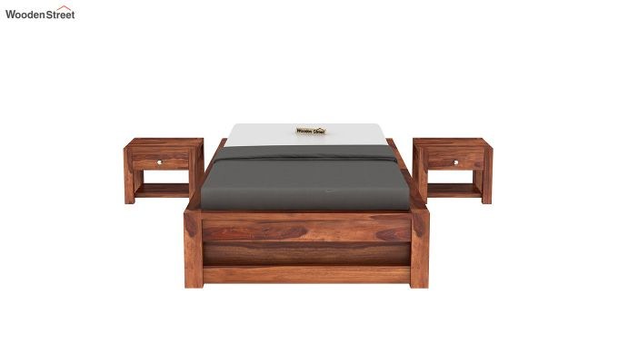 Hout Single Bed With Storage (Honey Finish)-3
