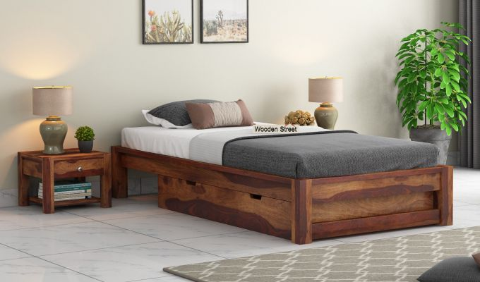 Hout Single Bed With Storage (Teak Finish)-1