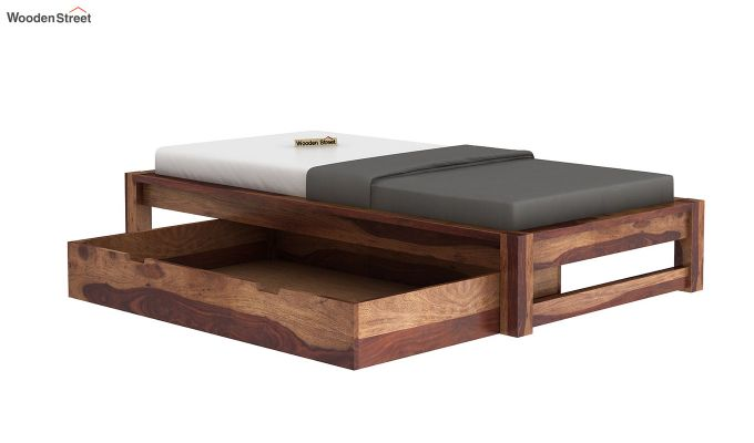 Hout Single Bed With Storage (Teak Finish)-7