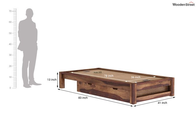 Hout Single Bed With Storage (Teak Finish)-9