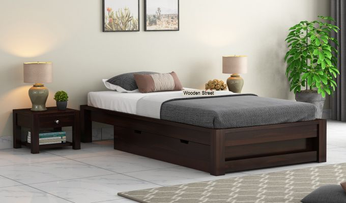 Hout Single Bed With Storage (Walnut Finish)-1