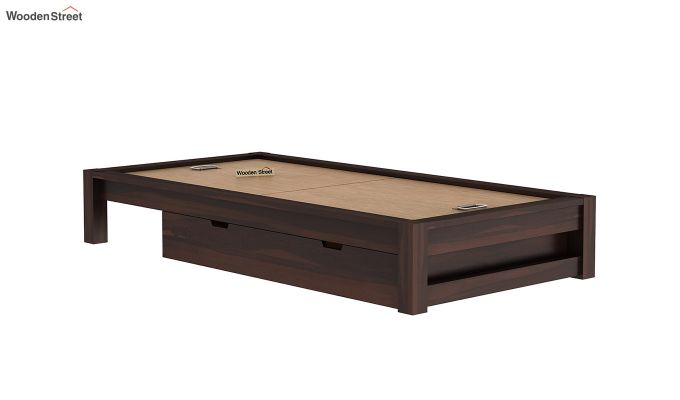 Hout Single Bed With Storage (Walnut Finish)-6