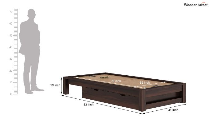 Hout Single Bed With Storage (Walnut Finish)-9
