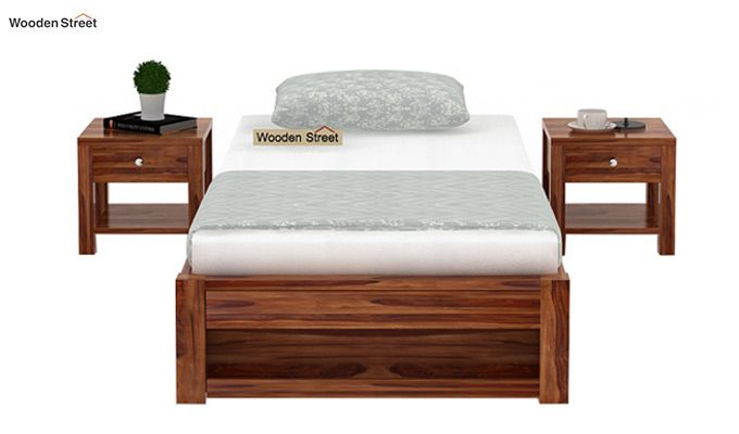 Hout Single Bed With Storage (Teak Finish)-2