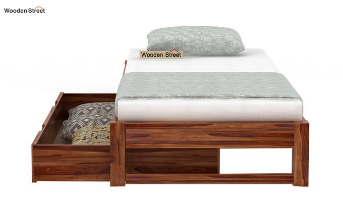 Hout Single Bed With Storage (Teak Finish)-6