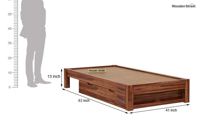 Hout Single Bed With Storage (Teak Finish)-8