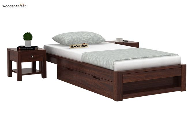 Hout Single Bed With Storage (Walnut Finish)-2