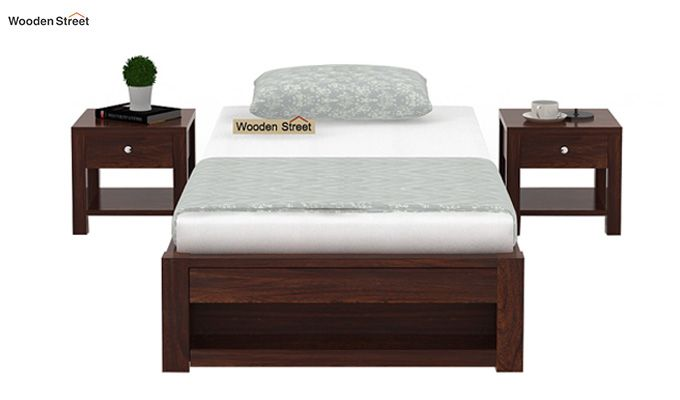 Hout Single Bed With Storage (Walnut Finish)-3