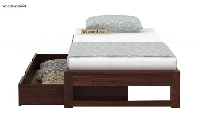 Hout Single Bed With Storage (Walnut Finish)-7