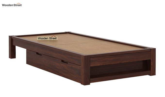 Hout Single Bed With Storage (Walnut Finish)-8