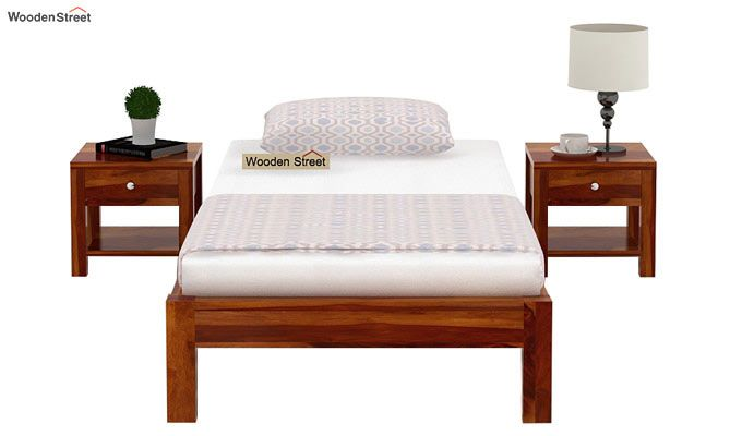 Hout Single Bed Without Storage (Honey Finish)-3