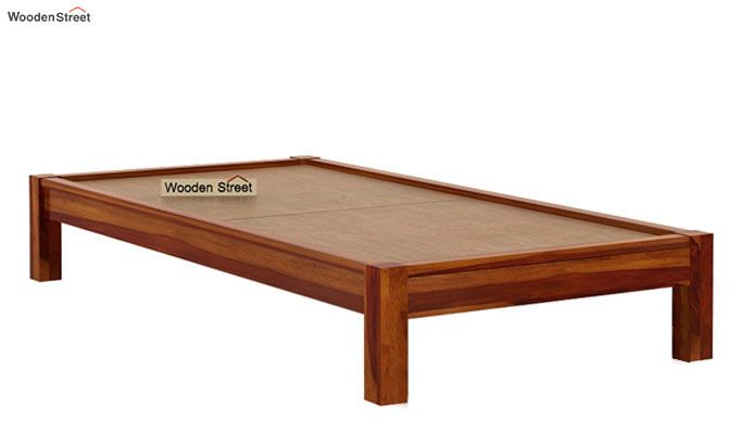 Hout Single Bed Without Storage (Honey Finish)-6