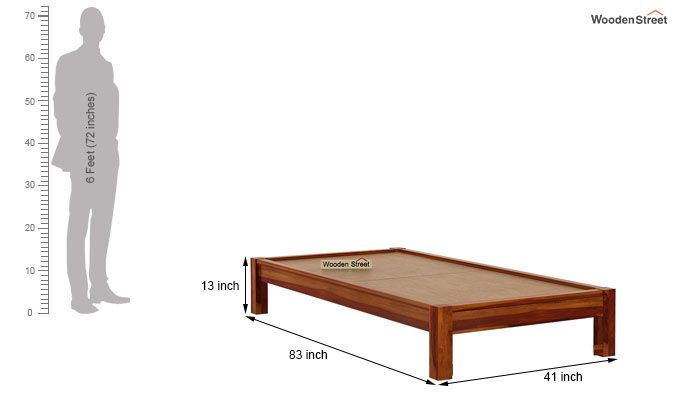 Hout Single Bed Without Storage (Honey Finish)-7