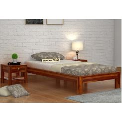 Hout Single Bed Without Storage (Honey Finish)