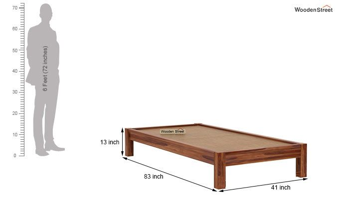 Hout Single Bed Without Storage (Teak Finish)-6