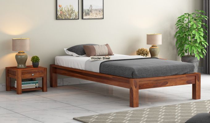 Hout Single Bed Without Storage (Honey Finish)-1
