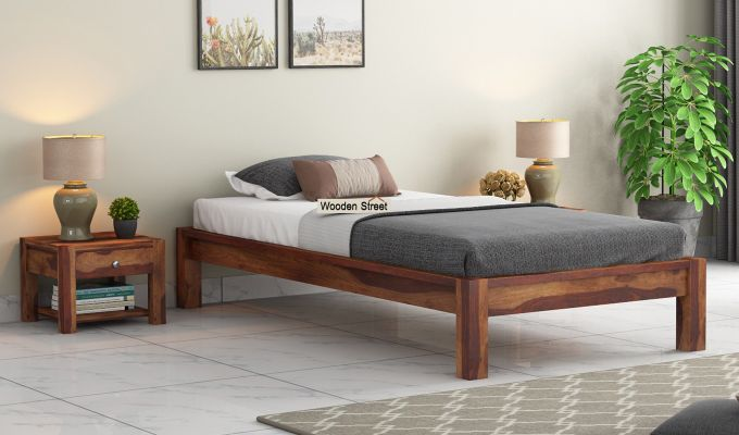 Hout Single Bed Without Storage (Teak Finish)-1