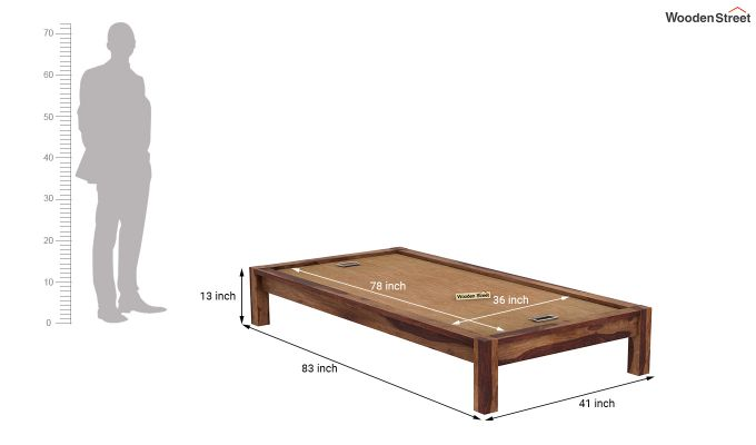 Hout Single Bed Without Storage (Teak Finish)-7
