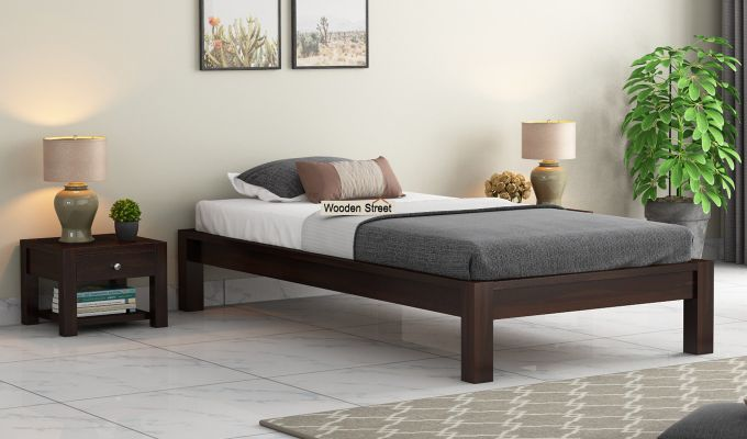 Hout Single Bed Without Storage (Walnut Finish)-1
