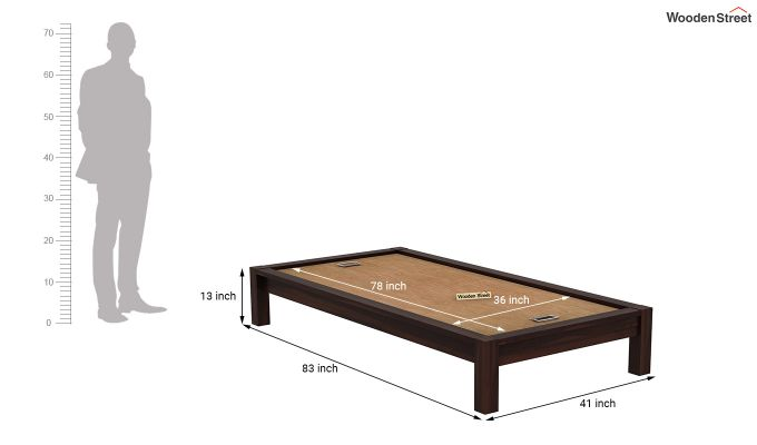 Hout Single Bed Without Storage (Walnut Finish)-7