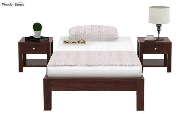 Hout Single Bed Without Storage (Walnut Finish)-2