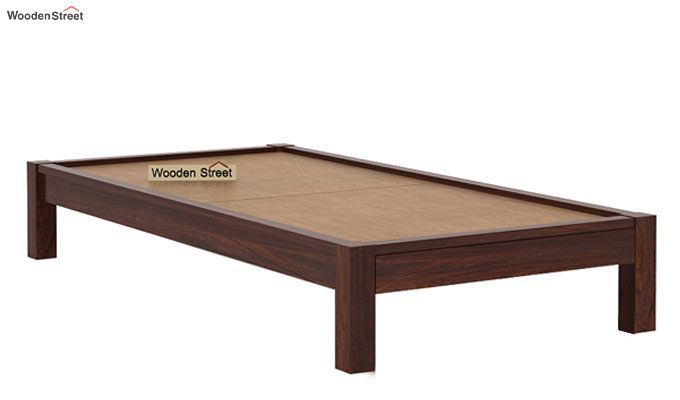 Hout Single Bed Without Storage (Walnut Finish)-5
