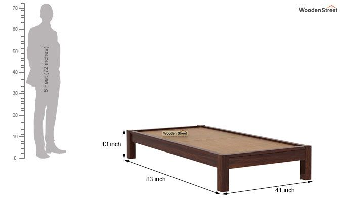 Hout Single Bed Without Storage (Walnut Finish)-6