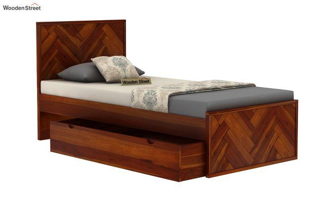 Jett Single Bed With Storage (Honey Finish)-6