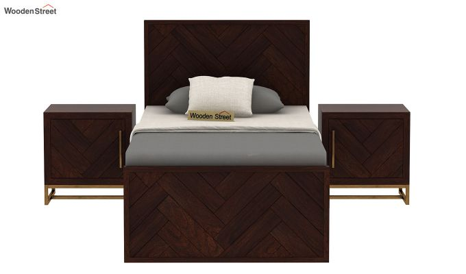 Jett Single Bed Without Storage (Walnut Finish)-3