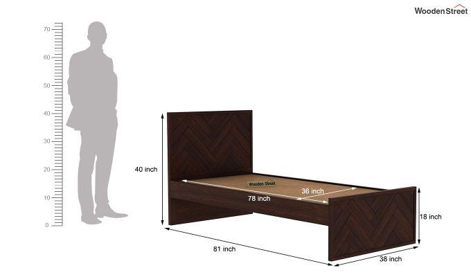 Jett Single Bed Without Storage (Walnut Finish)-6