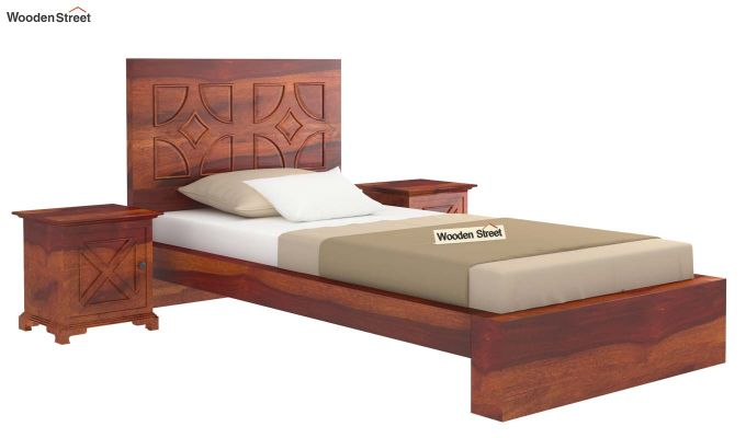 Martin Single Bed Without Storage (Honey Finish)-2