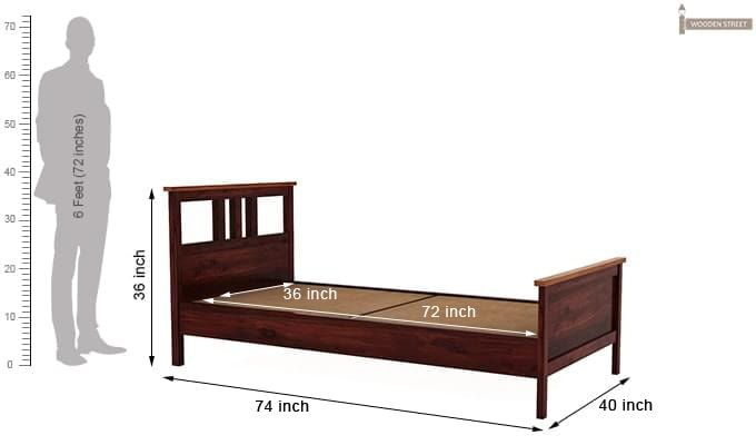 Megan Single Bed (Mahogany Finish)-6