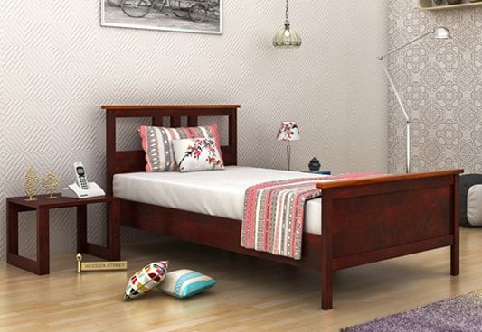 Megan solid wood Single Bed without storage in mahogany finish