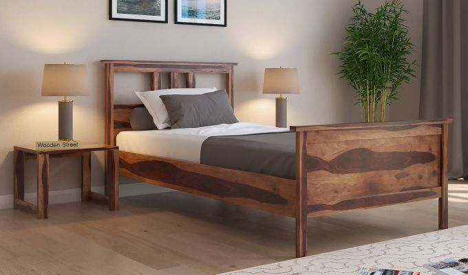 Megan Single Bed (Teak Finish)-1