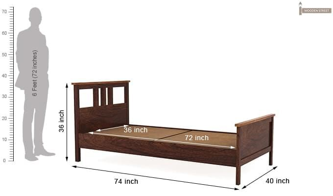 Megan Single Bed (Walnut Finish)-5
