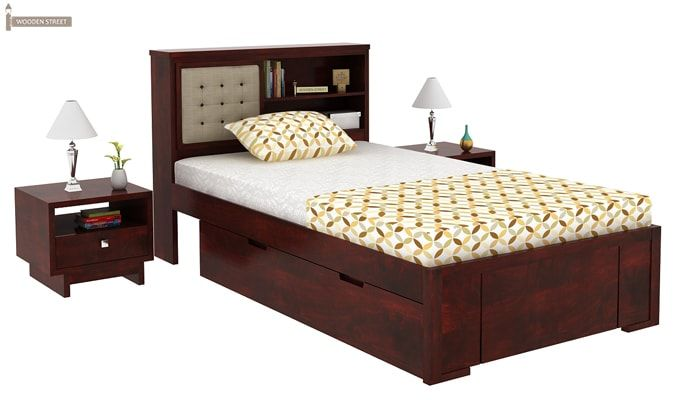 Nova Single Bed With Storage (Mahogany Finish)-2
