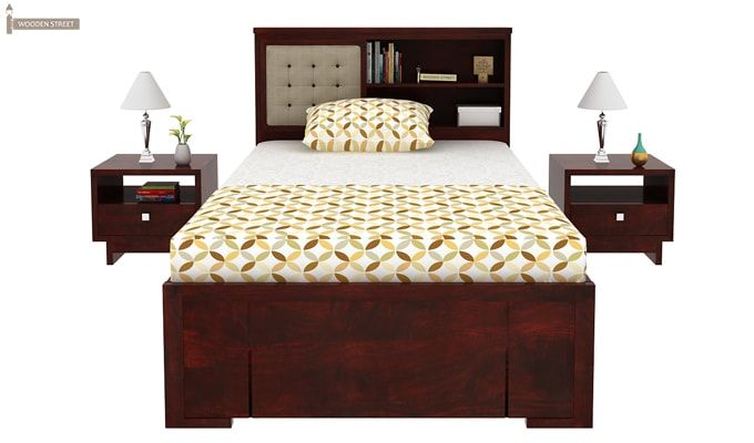 Nova Single Bed With Storage (Mahogany Finish)-3