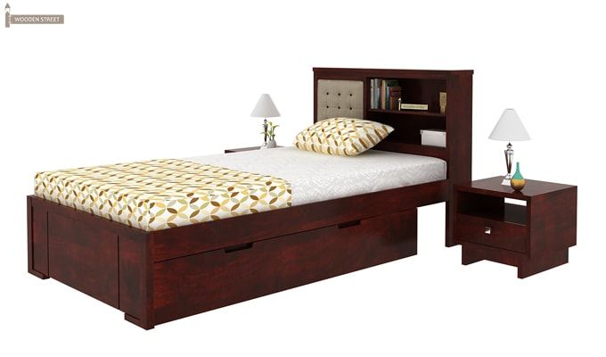 Nova Single Bed With Storage (Mahogany Finish)-4