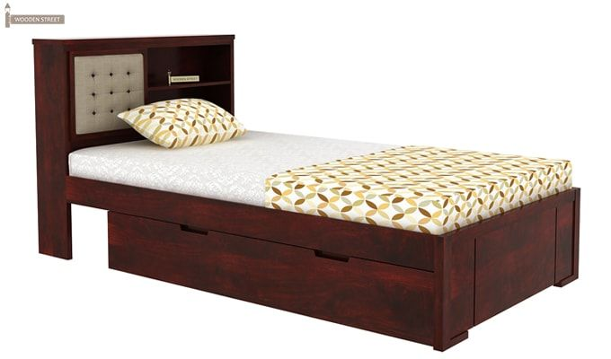 Nova Single Bed With Storage (Mahogany Finish)-5