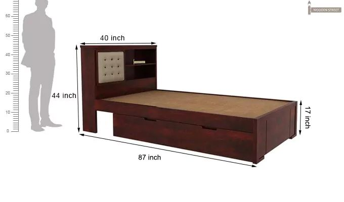 Nova Single Bed With Storage (Mahogany Finish)-7